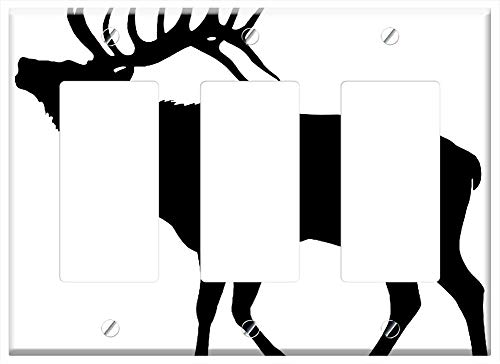 Switch Plate Triple Rocker/GFCI - Elk Silhouette Cut Out Stag Bull - Animal Vector