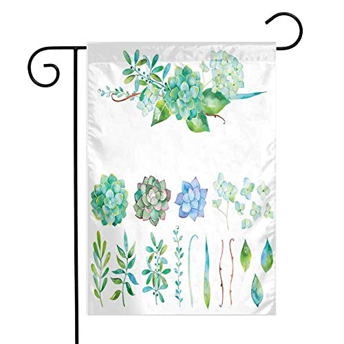 HouseLookHome Succulent Tropical Flower Floral Outdoor Yard FlagColorful Floral Collection Leaves and Flowers Watercolor Botany Drawing Print Beach Holiday Outdoor Yard Flag W28 x L40 inch Multicolor