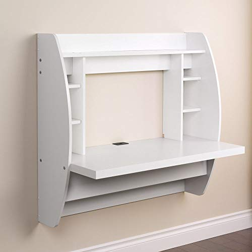 Prountet Home Office Computer Desk Table Floating Wall Mount Desk W/Storage Shelves White by Prountet (Image #2)