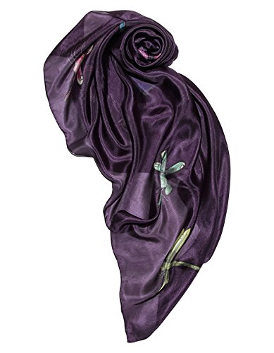 (Invisible World Women's 100% Silk Scarf Hand Painted Square Dragonfly)