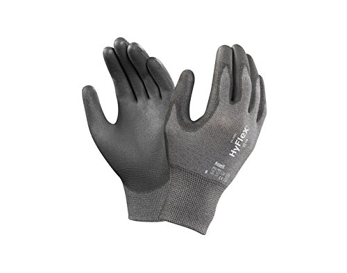 Ansell Hyflex 11-101 Gray 10 Copper/Polyamide Work & General Purpose Gloves - Polyurethane Palm Only Coating - Seamless Knit - 076490-14903 [PRICE is per PAIR]