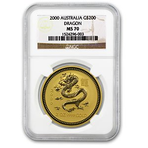 2000 AU 2 oz Gold Lunar Year of the Dragon MS-70 NGC (Series I) Gold MS-70 -