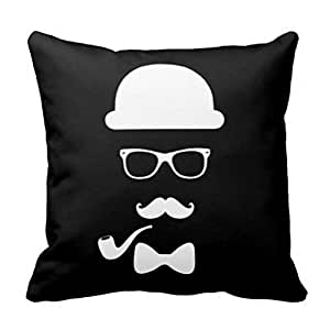 Amazon.com: CSSaleStore Hipster Face 18x18 Square Decorative Throw Pillow Case Cushion Cover ...