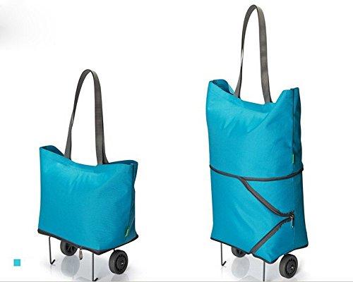Plegable bolsa de la compra con ruedas, dos forma carrito de la compra/bolso de mano de viaje (azul)