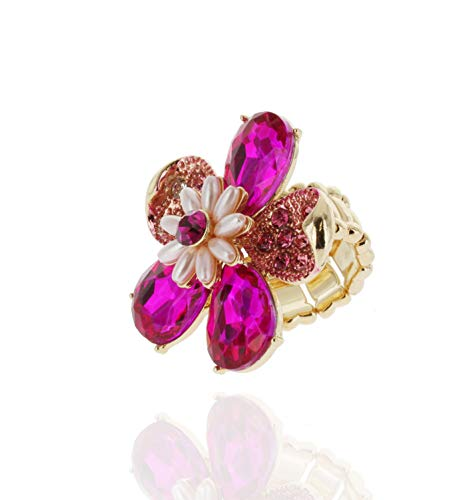 SP Sophia Collection Duchess Daisy Floral Bouquet Crystal Rhinestone Stretchable Fashion Gala Ring in Forget-me-not Fuchsia