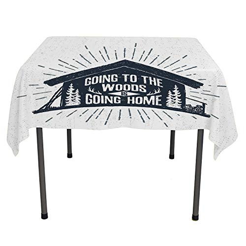 Cabin Decor Dining Table Cover Retro Style Hand Drawn Label with Wooden Cabin Chalet Quote Hipster Lodge Black White Grey Summer Tablecloth Spring/Summer/Party/Picnic 54 by 54