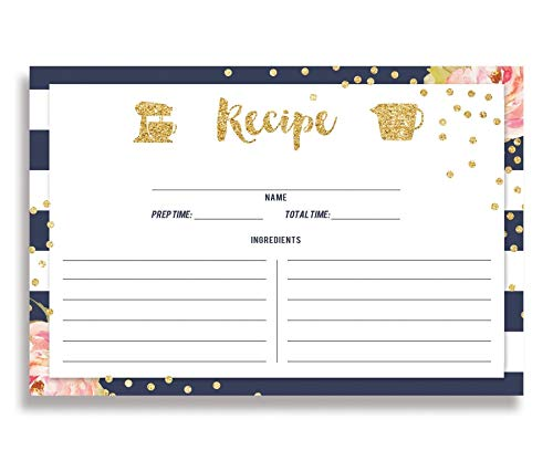 Floral and Navy Stripe Recipe Cards (Set of 25) 4x6 inches. Double Sided Card Stock Recipe Card Set | Krissy Navy