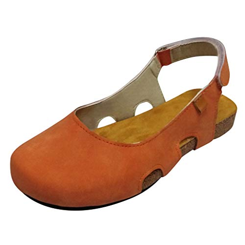 【MOHOLL 】 Womens Driving Flats Round Toe Breathable Casual Flat Shoes Exposed Hheel Beach Roman Sandals Yellow