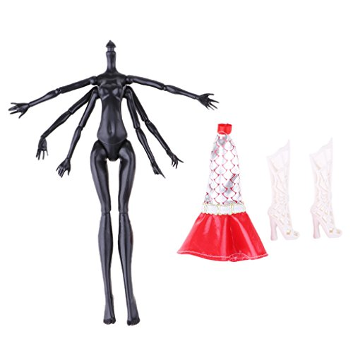 MagiDeal Polyarticular Turnable DIY Monster Body with Dress and Boots for Monster High Dolls