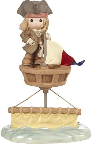Precious Moments 172054 I d Be Sunk Without You Jack Sparrow Bisque Porcelain Figurine Disney Showcase Pirates of The Caribbean, Multi