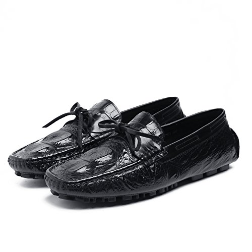 Santimon Heren Causale Alligator Grain Moccasin Schoenen Zwart