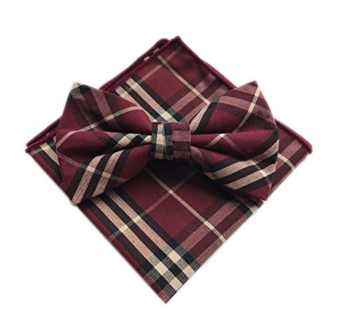Plaid Bow Tie Carahere Mens Cotton Wine Red Bow Ties Adjustable Pre Tied Bow Ties Set For Men