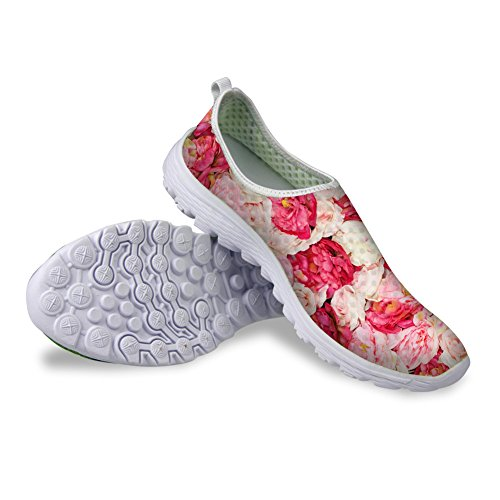 - HUGS IDEA Women's Floral Mesh Pink Slip on Shoes US9