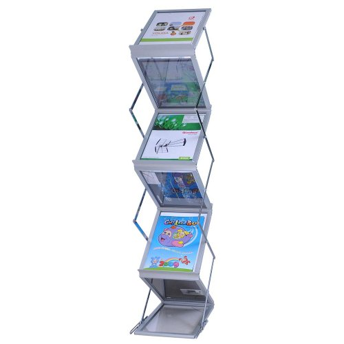Folding Literature Stand Floor Magazine Rack 5 Pocket for Trade Show Convention