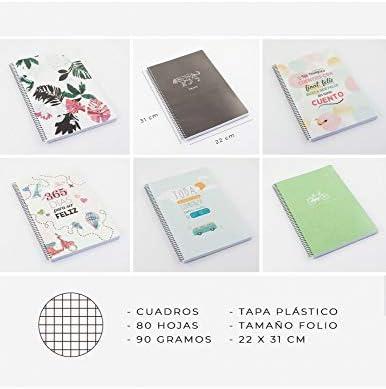 Casterli - Pack 8 Libretas Con Espiral, Tapa Plástico, Tamaño Folio, 90gr - COLECCION POSITIVE (Interior Cuadros): Amazon.es: Oficina y papelería