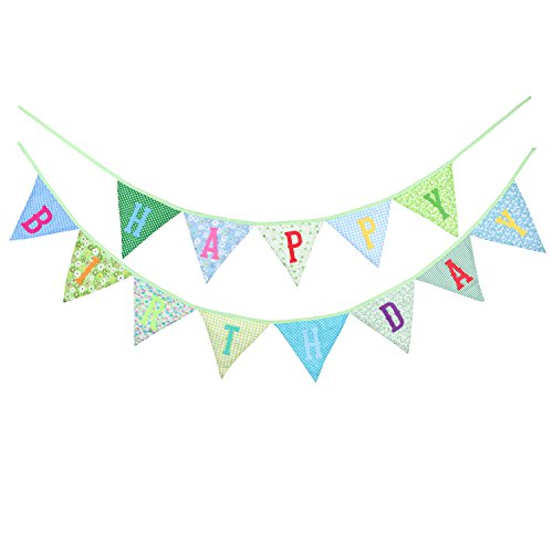 INFEI 4 Colors Happy Birthday Fabric Flag Buntings Garlands Wedding Children Party Decoration (Green) - Fabric Happy Birthday Banner