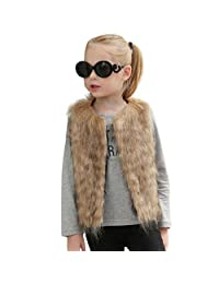 Baby Girls Faux Fur Vest Coat Kids Autumn Winter Thick Warm Outwear Cute Waistcoat