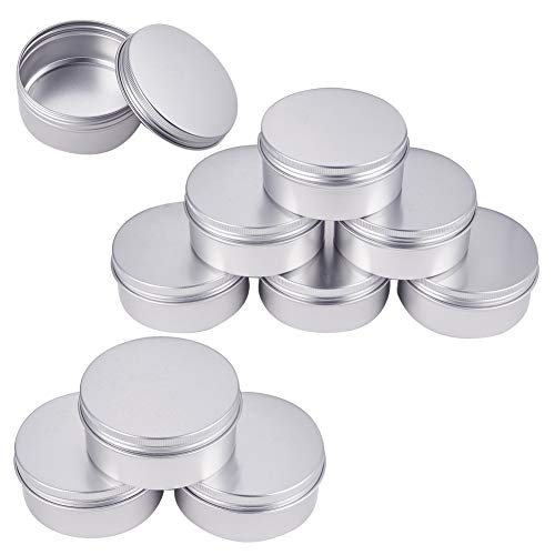 BENECREAT 10 Pack 4 OZ Tin Cans Screw Top Round Aluminum Cans Screw Lid Containers - Great for Store Spices, Candies, Tea or Gift Giving (Platinum)