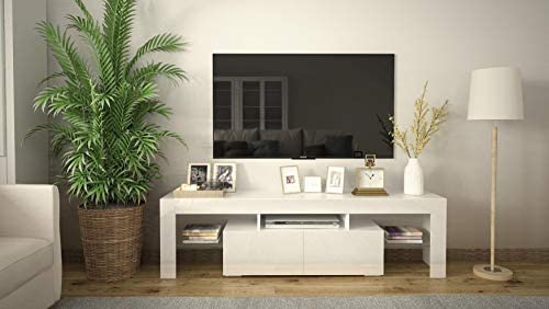 COSVALVE High-Gloss Fronts LED-Light TV Stand...