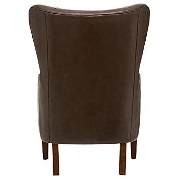 "Stone & Beam Deco Mid-Century Modern Leather Wingback Chair, 36"" W, Walnut"