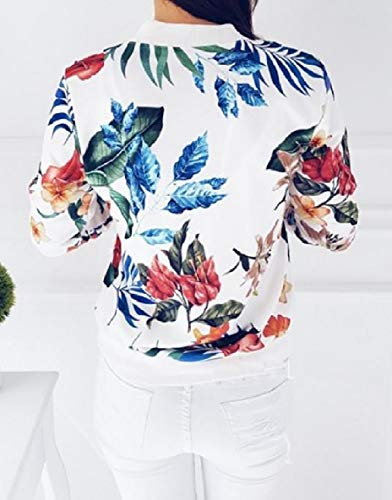 Open XINHEO White Zipper Front Short Baseball Style Printed Outerwear Womens Floral Jackets xrZw8xHCq