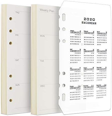 Kalendereinlage 2020 A6, FANDAMEI A6 Kalender 2 Packungen 90 Blätter 6 Loch Kalendereinlage Terminkalender Timereinlage 1 Woche auf 2 Seiten