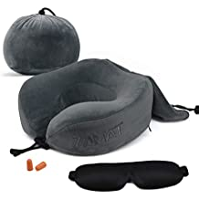 ZAMAT Breathable & Comfortable Memory Foam Travel Neck Pillow, U-Shaped Adjustable Airplane Car Flight Pillow, 360-Degree Head Support, Spandex Case Cover | Travel Kit with Earbuds & Eye Mask, Gray