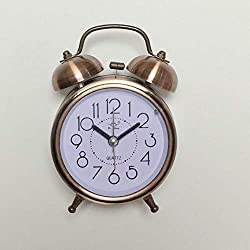 HSXOT Classic Retro Silent Night Led Lights Bell Alarm Clock Lazy Bedside Counter Clock to Students Brass Color