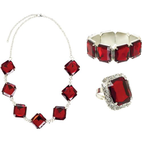 Hollywood Fancy Dress Party Costumes (Glamorous 20's Old Hollywood Themed Party Ruby Jewelry Set Accessories, Faux Gems, Pack of 3)