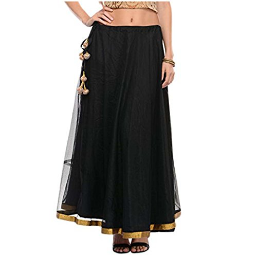 Indian Handicrfats Export Women's Net Solid Long Skirt (KNA-2103_Black_Freesize)