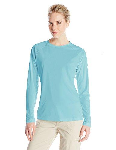 Columbia Womens Tidal Tee II Long Sleeve Shirt, Clear Blue/White Logo, Large