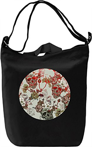 Flowers And Skulls Borsa Giornaliera Canvas Canvas Day Bag| 100% Premium Cotton Canvas| DTG Printing|