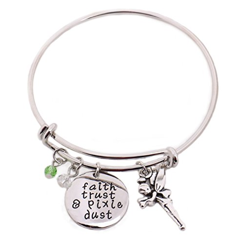 Tinkerbell Laser - Eliana and Eli Peter Pan Bangle Faith, Trust & Pixie Dust Hand Stamped Handmade Pendant with Tinkerbell Crystals Charms Halloween for Women