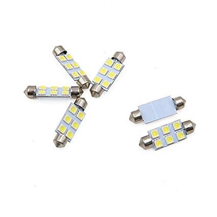 eDealMax 6 piezas DE 41 mm Blanco 6 LED SMD 5050 Adorno de la bóveda Luz