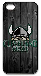 LZHCASE Personalized Protective Case for iPhone 5 - Cleveland State Vikings in Wood Background