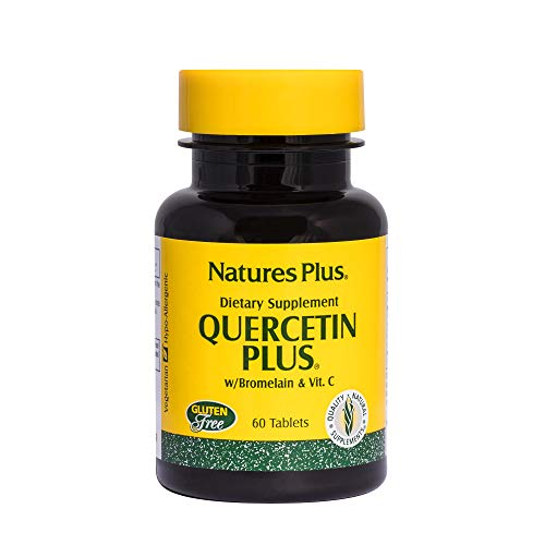 Natures Plus Quercetin Plus with Vitamin C and Bromelain - 650 mg, 60 Vegetarian Tablets - Allergy Relief Supplement, Antioxidant, Anti inflammatory - Gluten Free - 30 Servings