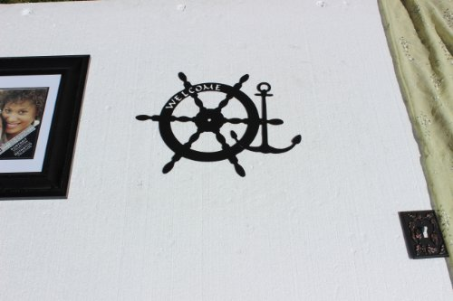 Welcome Sign With Anchor and Boat Wheel Metal Wall Art Nautical Home Decor