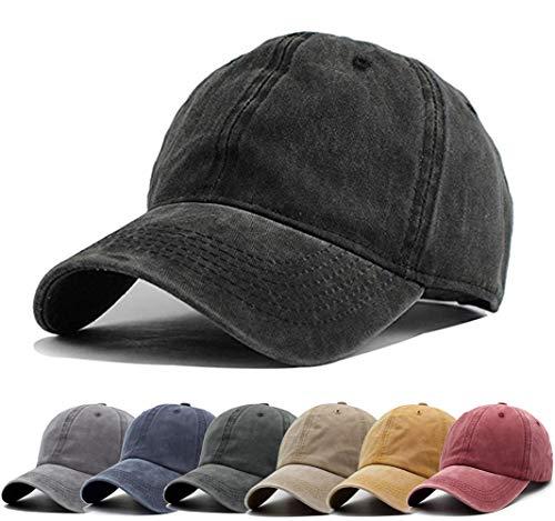 Aedvoouer Men Women Baseball Cap Vintage Cotton Washed Distressed Hats Twill Plain Adjustable Dad-Hat (A-Black)