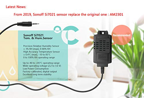 Sonoff TH16 Wifi Temperature and Humidity Sensor Switch+Si7021 RF Controller for DIY Smart Home,Wireless Remote Control Home Appliances and Work with Amazon Alexa, 1 Set