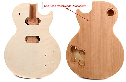 Yinfente Electric Guitar Body Replacement Unfinished Set In One Piece Wood Guitar Body Maple Mahogany