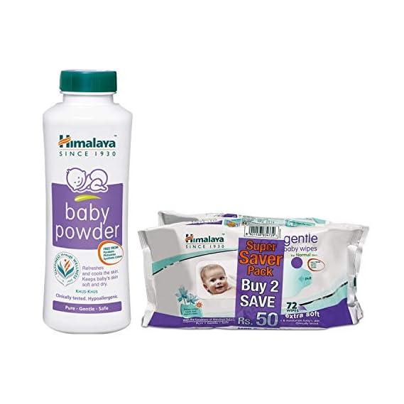 Himalaya Gentle Baby Wipes (72 Napkins of 2 Packs) & Himalaya Baby Powder (400g)