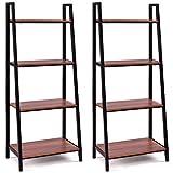 Tangkula 4-Tier Ladder Shelf, Ladder Bookcase Indoor & Outdoor Wood Bookshelf, Display Shelves, Plant Flower Stand Shelf (2)