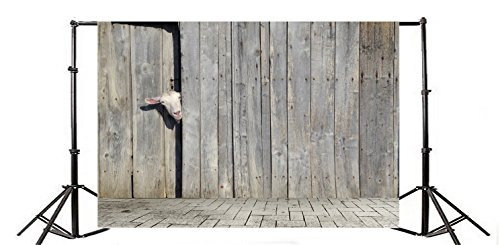 Yeele 7x5ft Curious Funny Cute Goat Peeking Backdrop Rustic Countryside Farm Pasture Wooden Shed Animal Photography Background Baby Boys Portrait Photo Shoot Studio Props Video Drop Vinyl Wallpaper