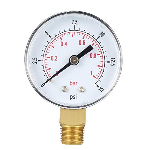 Fuel Pressure Gauge Range - uxcell Bottom Mount Pressure Gauge, 0-15 psi/bar Dual Scale, 2