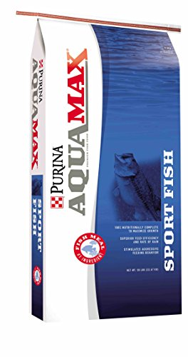 - Aquamax Sportfish MVP Game Fish Feed 50 lb, 43% Protein, Diet for Bass, Bluegill, Trout (50 lb)