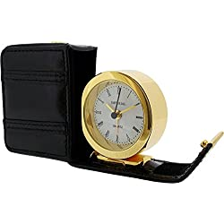 Gift Time Products Unisex Leather Case Alarm Clock - Gold/Black