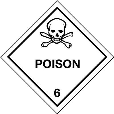 Hazchem Signes–100x 100mm Poison 6Hazard Warning Diamant Autocollant en vinyle à imprimer UK Safety Signs