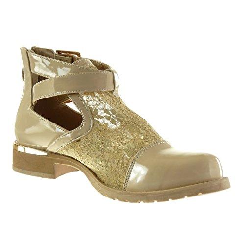 Angkorly - damen Schuhe Stiefeletten - Offen - Spitze - String Tanga - glänzende Blockabsatz 3 CM - Beige