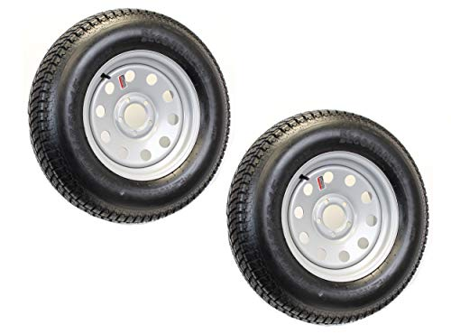 Wheel Trailer Sizes - 2-Pack Trailer Tire On Rim ST205/75D15 F78-15 205/75-15 LRC 5 Lug Silver Modular