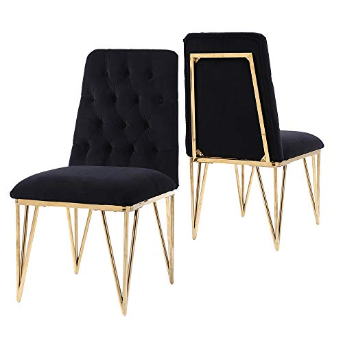 - HomeFun Tufted Side Chair, Velvet Dining Chair, Black, Stainless, Set of 2